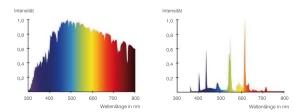 Spektrum Leuchtstofflampe und Sonnenlicht